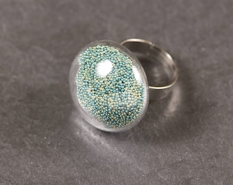 Glass dome ring, micro beads