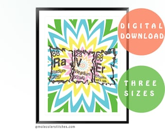 Raver poster, printable periodic table poster, printable chemistry poster, periodic table of elements, chemistry art, science poster