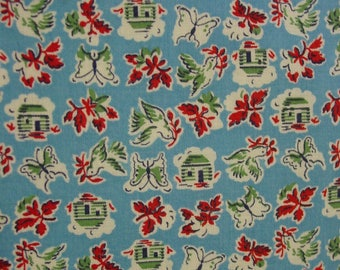 Vintage Full Feedsack, Great Novelty, Small Print, Blue Background, Houses,Birds,Butterflies