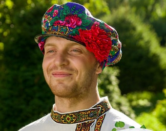 Russian traditional cap Kartuz, Flowered Kartuz, Flower cap, Russian men headwear, Russian hat for men
