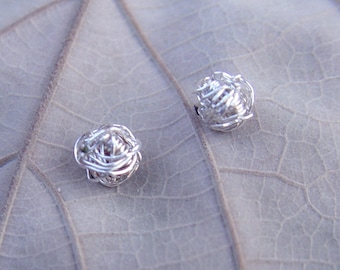 Silver Knot Stud Earrings, Tiny Sterling Silver Studs, Tiny Wire Ball Post Earrings, Silver Stud Earrings, Silver Studs Earrings