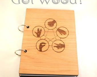 Big Bang Theory Themed- Rock Paper Scissors Lizard Spock Wooden Notebook with Paper