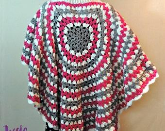 Circular Poncho - Crochet PATTERN PDF ONLY
