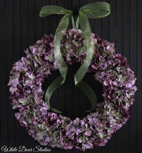 Lavender Hydrangea Wreath for Front Door or Wedding - Ready to Ship