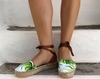 Espadrille Sandals. Tropical Print Lace up Espadrilles. Summer Leather and Fabric Shoes. Women's Sandals. Greek Sandals.