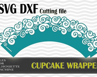 Cupcake Wrapper waves swirl SVG DXF  cutting files Silhouette Studio, laser machine, party wedding decoration, template