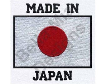 Made In Japan - Machine Embroidery Design, Japan, Japanese Flag