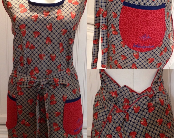 Vintage style full apron, women's apron, navy blue red strawberry, bib neck vintage feel, cotton navy blue neck trim, littlebird logo apron