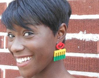 DUAFE (Stollen) / / Adinkra / / Afrocentric / / natürliche Holz handbemalt / / Afrika und der Karibik inspiriert Schmuck