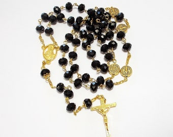 Beautiful Black Glass Crystal Catholic Rosary St. Benedict Bright Gold Sacred Heart Jesus Made in U.S.A.