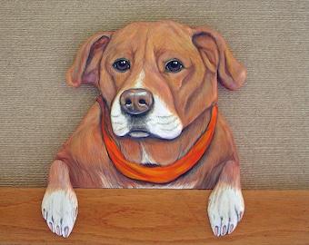 Pet Portrait - Hand Carved - Hand Painted Door Topper - Custom Dog Portrait