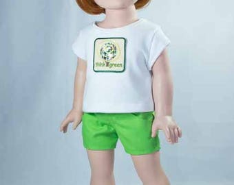 SHORTS in Bright Green with White TEE Shirt with Think Green Applique and Sandals Option for American Girl or 18 Inch Doll