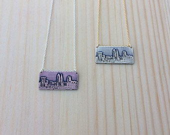 Cleveland Ohio skyline necklace | Cleveland skyline pendant | jewelry for her