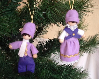Scandnavian Christmas Elf, Tomte or Nisse  (set of 2) - Purple