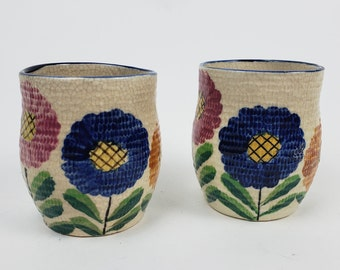 Vintage Revelation Floral Cups Pink Navy  Yellow Made in Japan