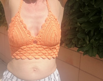 Crochet, vintage, orange, a timeless top