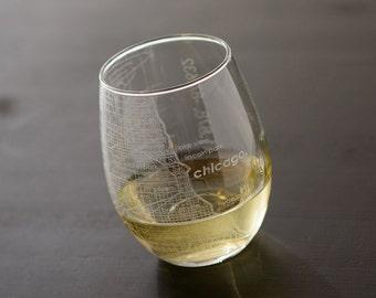 Chicago Maps Stemless Wine Glass