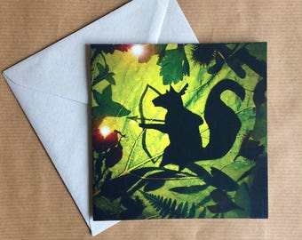 Greeting Card - Woodland Creatures - Squirrel - Eco Friendly FSC Recycled Biodegradable - Humorous - silhouette Photography - Blank Inside