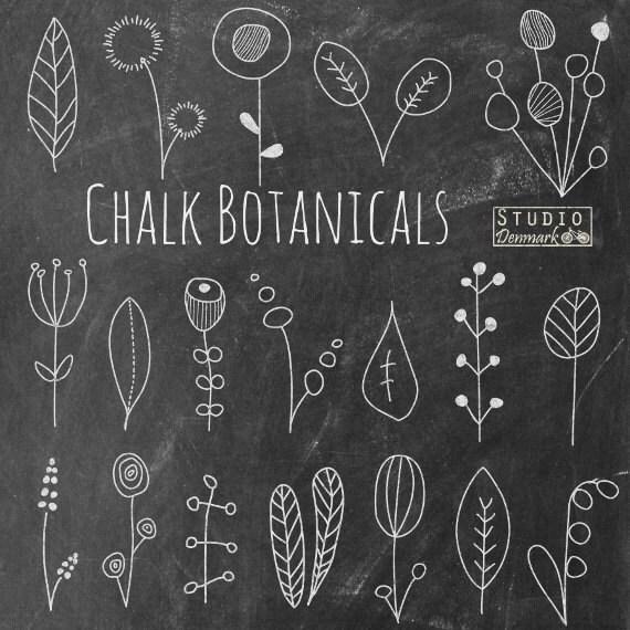 Blackboard Artwork Ideas: Chalkboard Flower Doodles Clipart Chalk