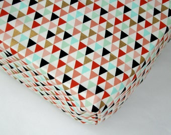 Girl Fitted Crib Sheet Coral and Metallic Gold Triangles, Changing Pad Cover, Mini Crib Sheet