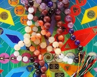 "28"" Knotted Chakra Crystal JAPA MALA NECKLACE, 108 Prayer Beads With Chakra Reminder Bracelet, Stunning Set"