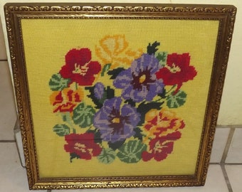 Beautiful Framed Needlepoint Colorful Bouquet of Flowers