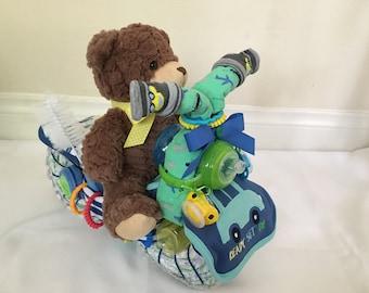 Bear Motorcycle Diaper Cake