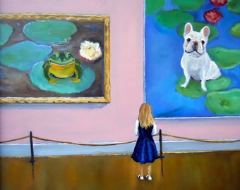 """French Bulldog Art Print of an original oil painting / """"Frog Dog Exhibit At The Museum"""" / 8 x 10 / Dog Art"""