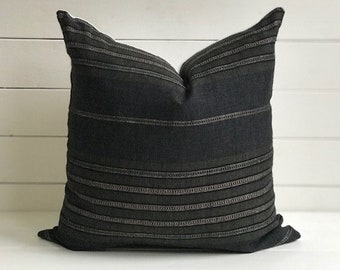 """The TYSON Olive and Black Stripe 18 x 18"""" Pillow"""