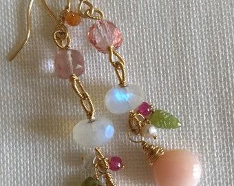 Pink Opal, Rainbow Moonstone, Pink Quartz and Mandarin Garnet Gold Filled Earrings