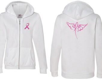 Breast Cancer Awareness Ladies Hoodie Pink Ribbon Wings Font & Back Print Full Zip Hoody FBWINGS-71600FL