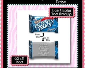 Rice Krispies Wrapper Mockup Preview  Template Set - Instant Download PSD and PNG Formats (Temp759) Digital Collage Sheet Template