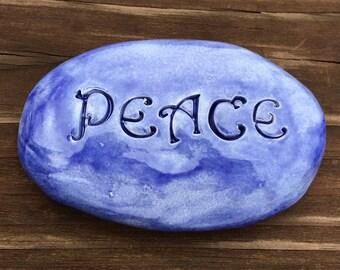 PEACE Garden Stone - EXOTIC BLUE Art Glaze - Inspirational Art Piece by Inner Art Peace