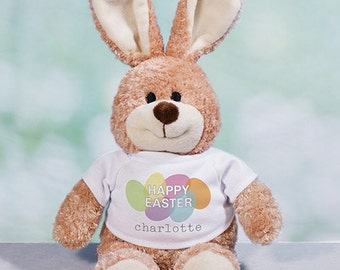 Happy Easter Personalized Easter Bunny, plush bunny, plush toy, Easter gift for kids, easter basket stuffer, brown, customized -gfy86101078M