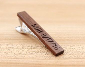 Wood Tie Clip - Personalized - Walnut - 5th wedding anniversary present - Groomsmen gift