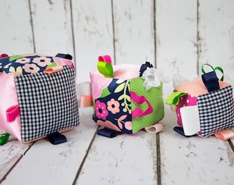 Soft Baby Block Set- Floral, Pink Green