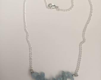 Aquamarine Crystal Chain Necklace