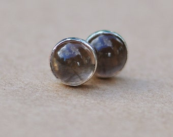 Smokey Quartz Earrings, Sterling Silver Earring Studs, 6mm Gemstone Jewellery for men and women. Father's day gift or birthday gift idea