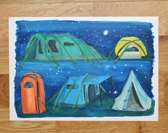A4 print- Modern tents illustration