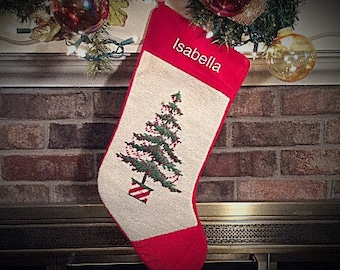 Potted Christmas Tree w/Berry Garland, Personalized Christmas stockings, Needlepoint Christmas Stockings, Family Christmas Stockings