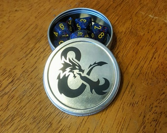 Etched Gaming Dice Tin