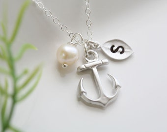 Anchor Necklace,Anchor with leaf initial,Pearl,Sailors Anchor,Wedding Jewelry,Bridesmaid gifts,daily Jewelry,strength,