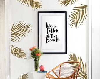 Palm Leaves Wall Decal for Baby Nursery or Home, Tropical Leaves Wall Decal, Nursery Wall Decals, Tree Wall Stickers