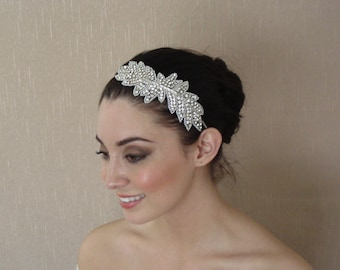 Rhinestone Applique Headpiece on Headband OR Tulle Band Or Silk Ribbon OR Alligator Clips OR Combs - Ready to ship in 3-5 days