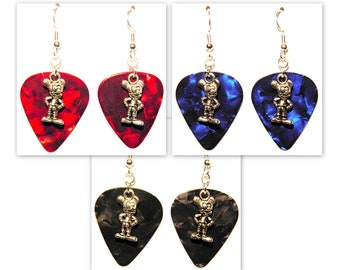 Mickey Mouse Charm Guitar Pick Earrings - Choose Color - Handmade in USA