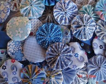 40 Blue Mix Assortment Fabric Yo Yo Applique Quilt Suffolk PUff