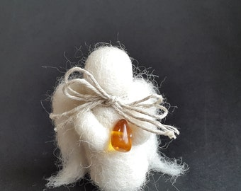 Baptism Angel, Needle Felt Angel Figurine, Wool Angel Wings, Gift For Christening