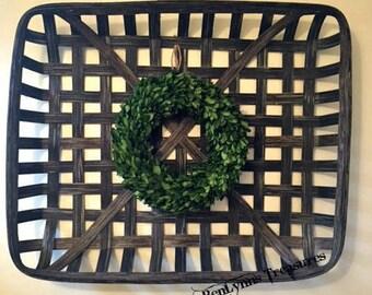 Large Rectangular Tobacco Basket, Decorative Wall Basket for Home Staging, Farmhouse Decor, Rustic Decor, Vintage Style Decor