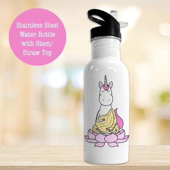 Stainless Steel Water Bottle - Funny Unicorn Yoga Buddha Eco Friendly Water Bottle