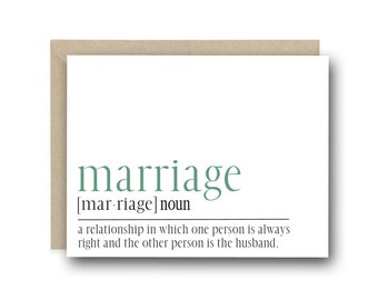 Funny Anniversary Card - Marriage Definition Card - Card for Him, Anniversary Card for Husband, Card for Husband, Funny Anniversary Card